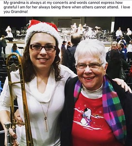 Allison and Grandma at the Brunswick Community Christmas Band Concert - December 2016