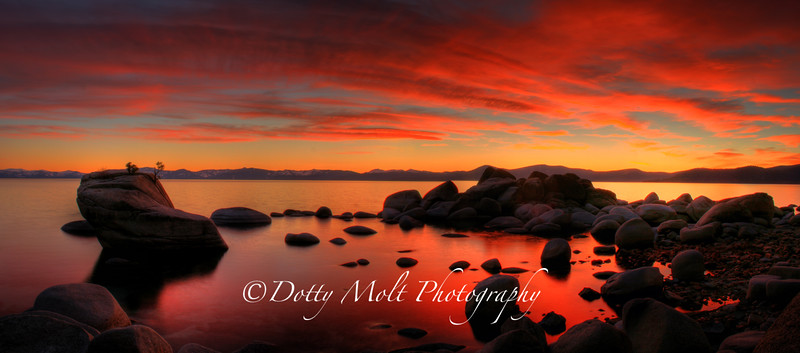 Bonsai Rock Fiery Sunset, Lake Tahoe, NV