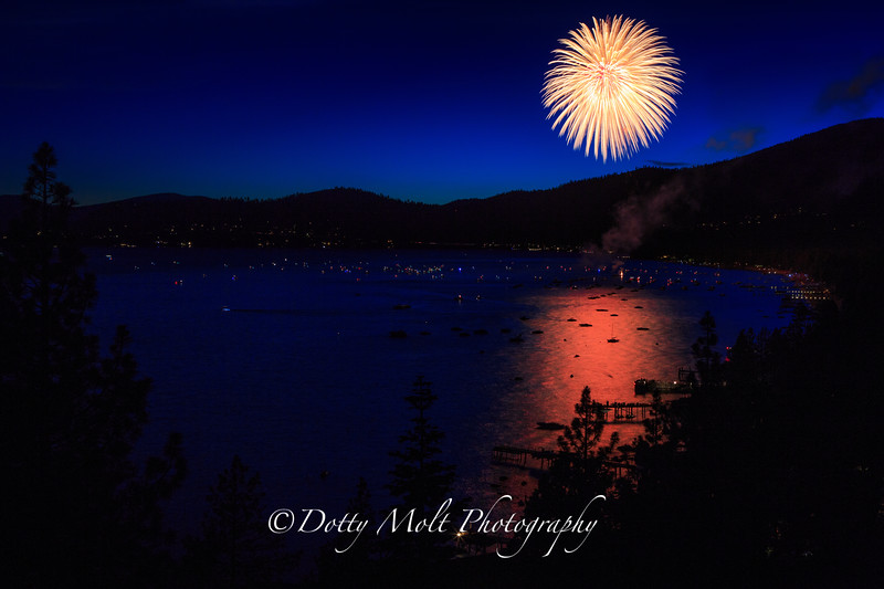 Fireworks over Incline Village, Lake Tahoe, NV
