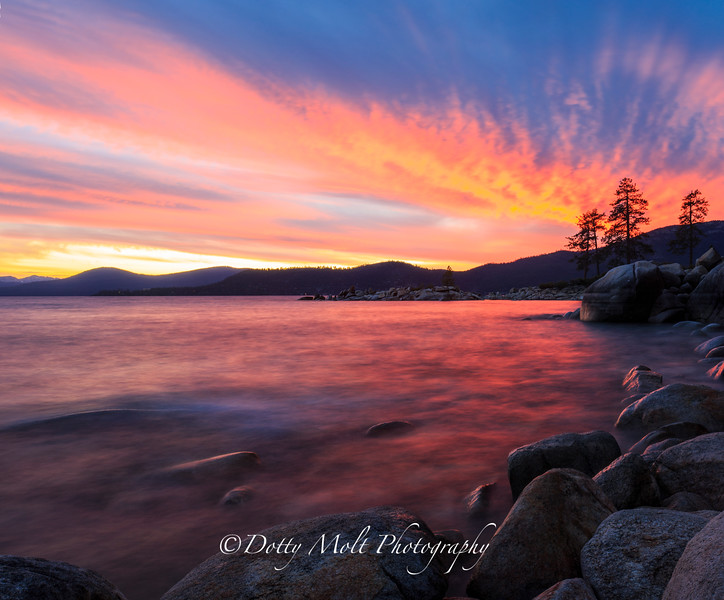 Surreal Sunset Hidden Beach, East Shore Lake Tahoe, NV