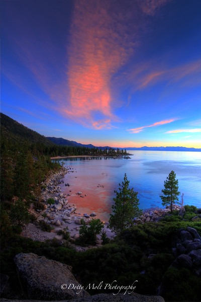 Pink Sunset over Sand Harbor, Lake Tahoe, Nevada