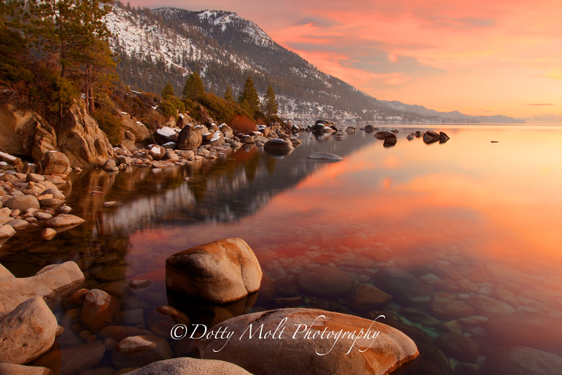 Peach Sunset Lake Tahoe, Nevada