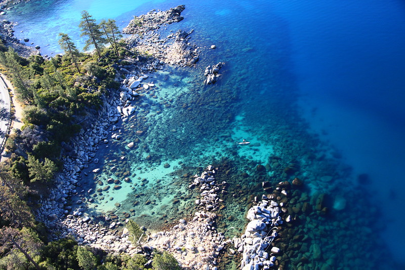 The view from a Helicopter flying over Lake Tahoe.