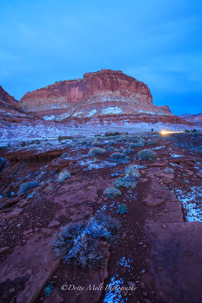 Capitol Reef,  Snowfall at dusk