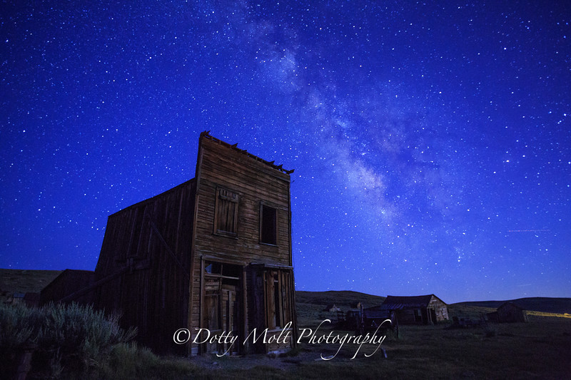 Moonlight and the Milky Way  Bodie Ghost Town, Ca
