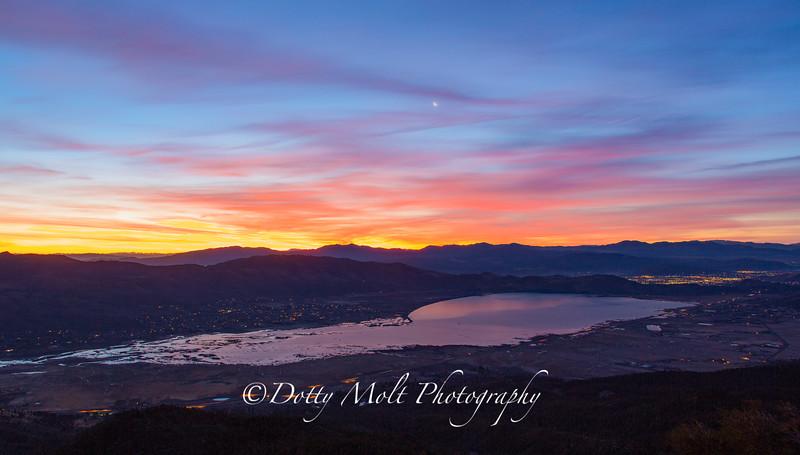 Sunrise over Washoe Lake and Carson City