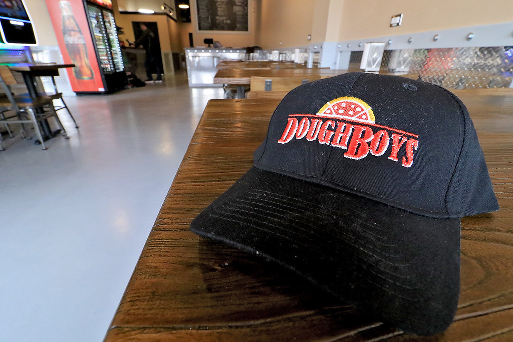 . The new Fitchburg Pizza restaurant DoughBoys on Main will be officially open on Wednesday morning, January 29, 2019. On Tuesday they were making few pizza as tests. One of their hats. SENTINEL & ENTERPRISE/JOHN LOVE