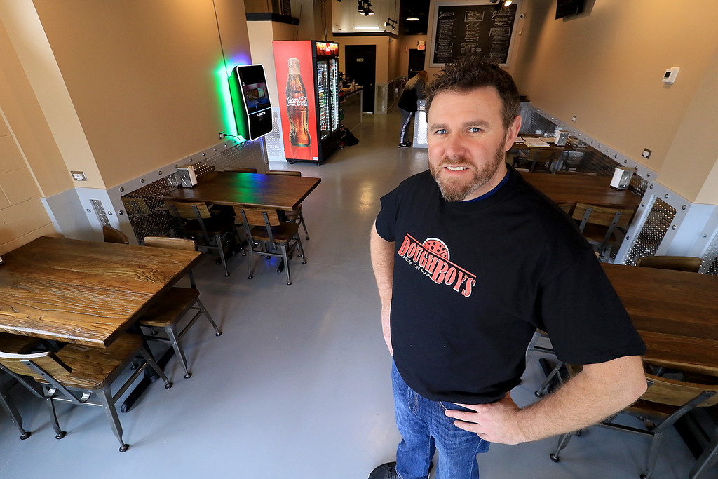. The new Fitchburg Pizza restaurant DoughBoys on Main will be officially open on Wednesday morning, January 29, 2019. On Tuesday they were making few pizza as tests. Owner Shane Egan. SENTINEL & ENTERPRISE/JOHN LOVE