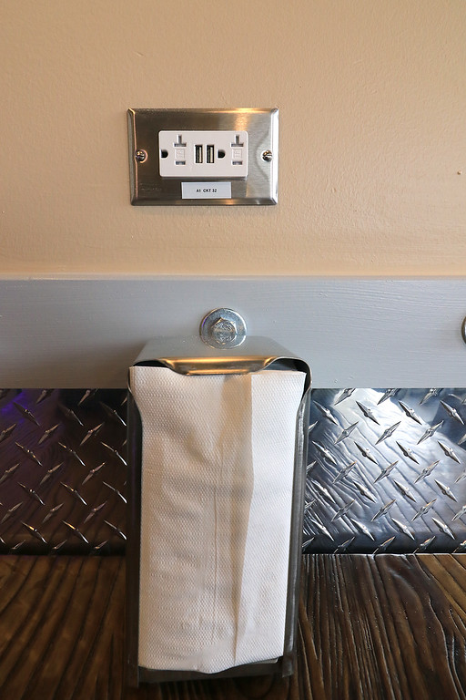 . The new Fitchburg Pizza restaurant DoughBoys on Main will be officially open on Wednesday morning, January 29, 2019. On Tuesday they were making few pizza as tests. at most of the tavles they have plugs so you can charge up your devices while you eat. SENTINEL & ENTERPRISE/JOHN LOVE