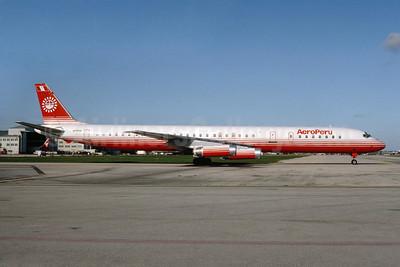 AeroPeru (1st) McDonnell Douglas DC-8-63 N795AL (msn 46136) MIA (Bruce Drum). Image: 103448.