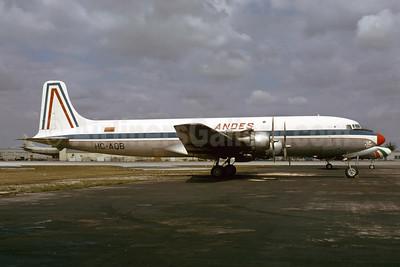 ANDES (Aerolineas Nacionales Del Ecuador) Douglas DC-6A HC-AQB (msn 44909) MIA (Bruce Drum). Image: 103645.