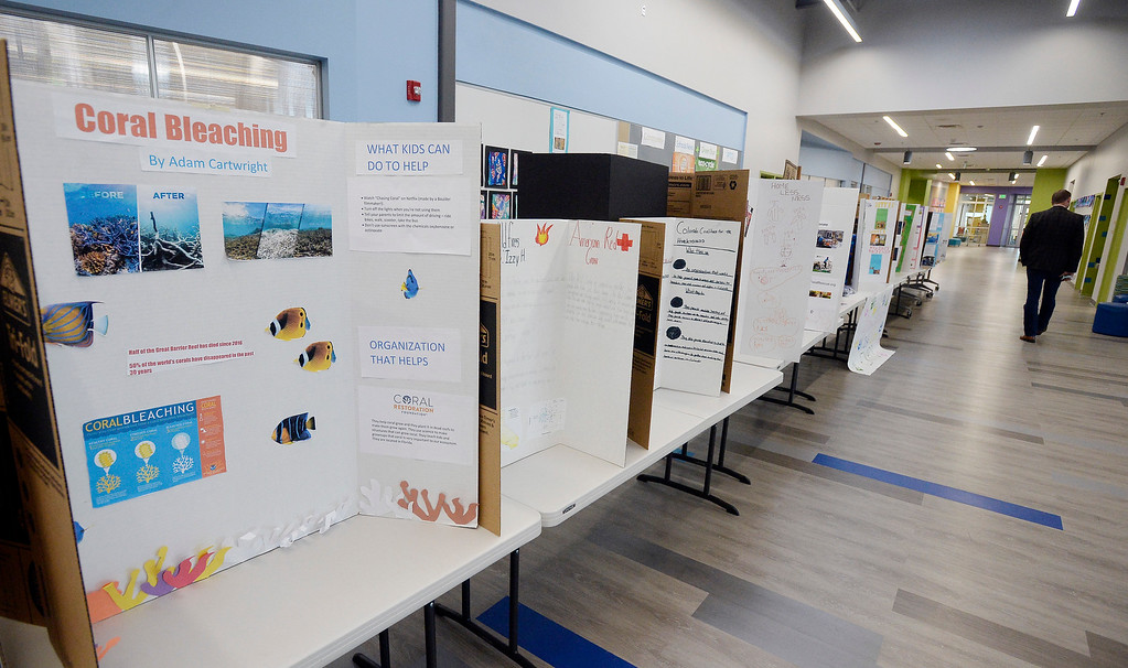 . BOULDER, CO - November 29, 2018:  This is the display for the Kids Care Expo at Douglass Elementary in Boulder.  (Photo by Cliff Grassmick/Staff Photographer)