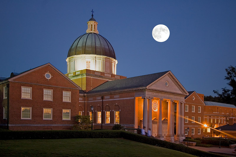 Harvest Moon over Beason School of Divinity,<br /> Samford University,<br /> Homewood, Alabama