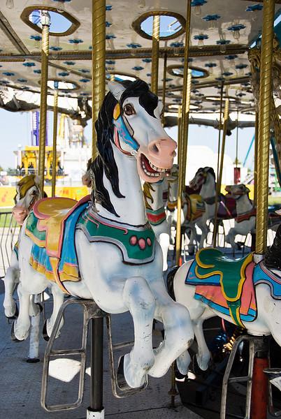 The carousel steeds await their young jockeys.