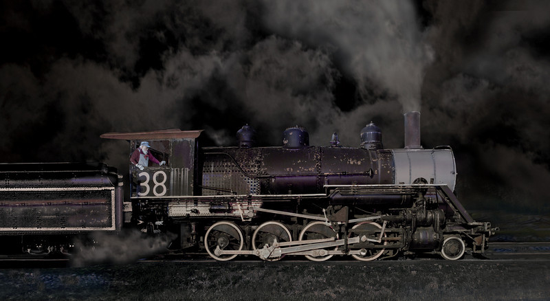 """Night Train Guest Photo by Ken Boyd, <A href=""""http://kenboydphotography.com"""">Ken Boyd Photography</a>  That is yours truly bringing the train in!"""