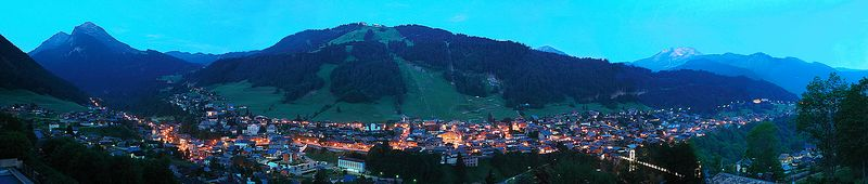 "Morzine at Dawn  <br> (A panorama.  Available in lengths up to 44"") Third Place, Shades Valley Camera Club,  October 2005"