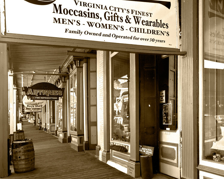 "Moccasins, et. al.<br /> <br /> Didn't we used to call such stores simply ""Dry Goods?"" I suppose that might not attract so many tourist; which seems to be the life blood of most of the small towns we visited."