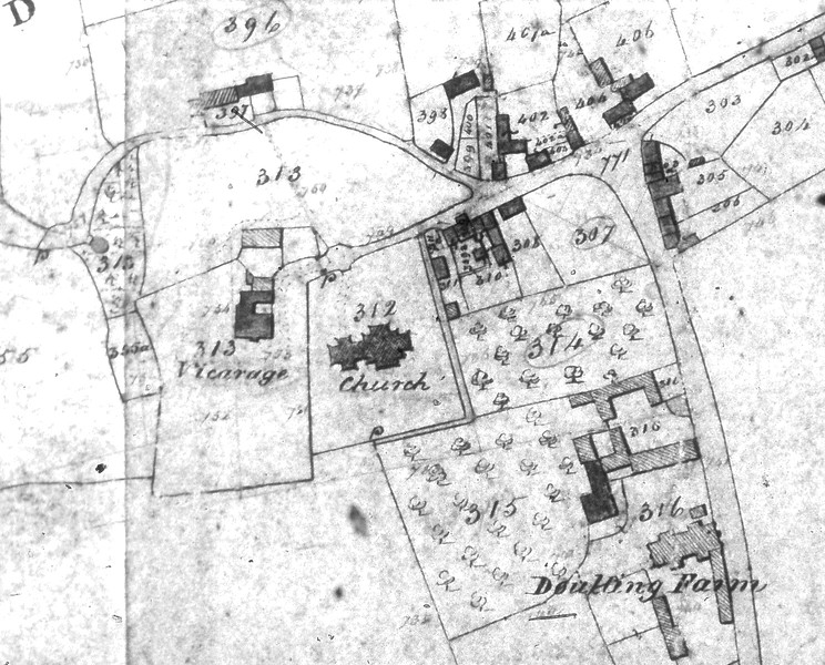 1843 Tithe Map of Doulting - closeup