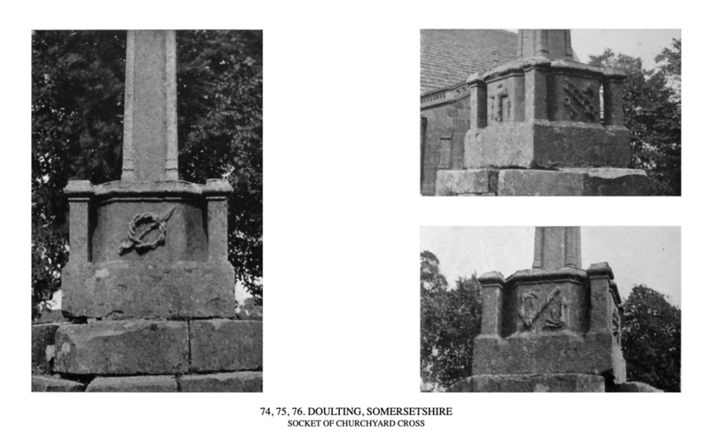 At least a dozen crosses in Somersetshire, including Doulting (Figs. 74, 75, and 76), Evercreech, Minehead, North Petherton (Fig. 77), West Pennard, and Wraxall, have angle-pedestals on every alternate cant of the octagon. These pedestals may have been designed for statuettes of the four Evangelists. Whatever the subject of the figures, the effect of the whole group, with the tall shaft in the middle, must have been very handsome.