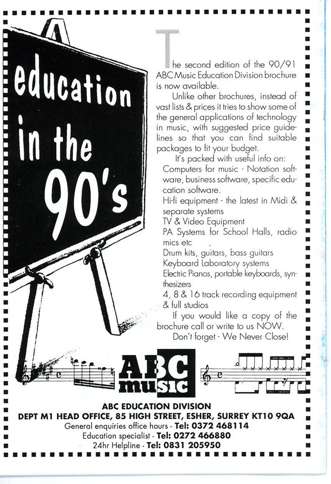 Programme back page