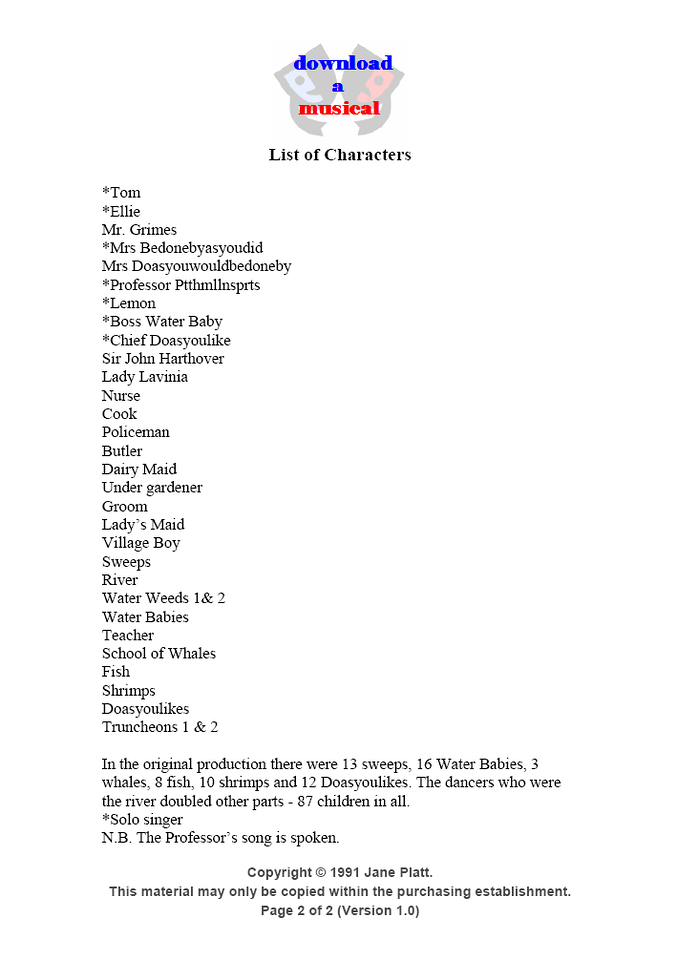 List of Characters: Page 2