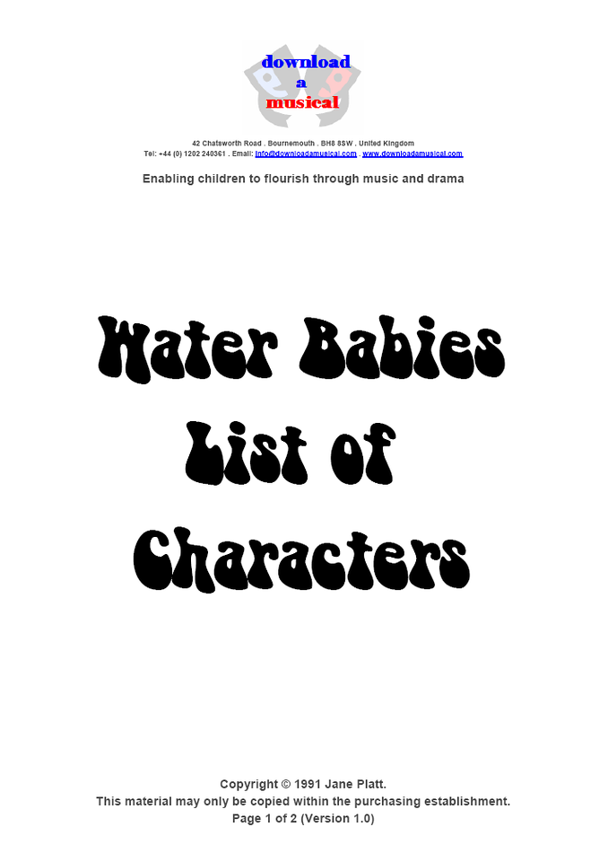 List of Characters: Title Page