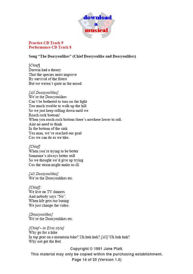 Song Words: Page 14