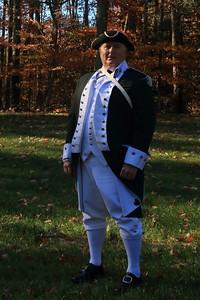 Actor in Revolutionary war uniform.  Quantico National Cemetery in Virginia on Veteran's Day 2015.
