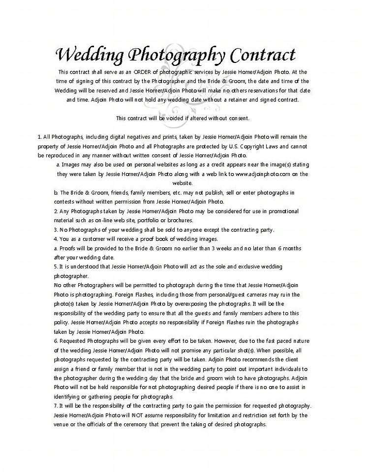 Photography Contract Define Poses Wedding Photography Contract