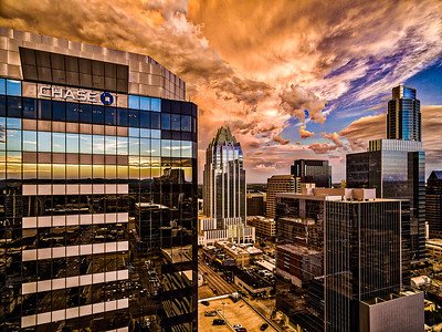 Orange Sky Downtown Austin, Texas