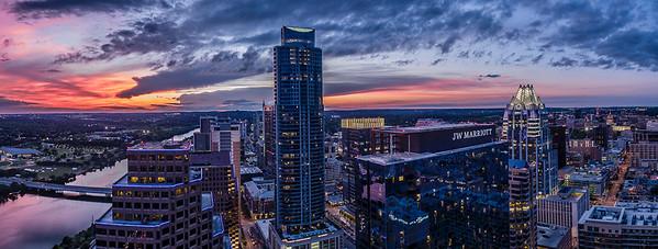 Red Sky Downtown Austin Panoramic