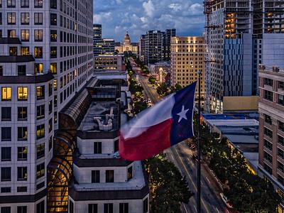 Texas Flag Over Congress Avenue
