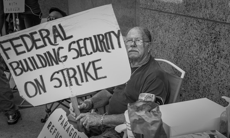 Federal worker on strike outside Dallas City Hall - Downtown Dallas, TX - Photo by Randy Stewart - www.NoPhotosAllowed.com