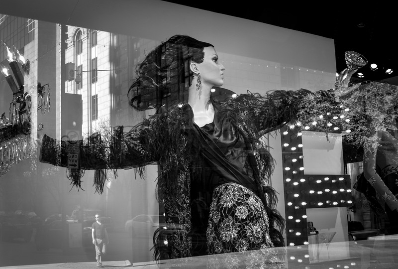 Dallas Neiman Marcus Christmas window 2015 - Downtown Dallas, TX  - 35mm black and white photo by Randy Stewart - www.NoPhotosAllowed.com