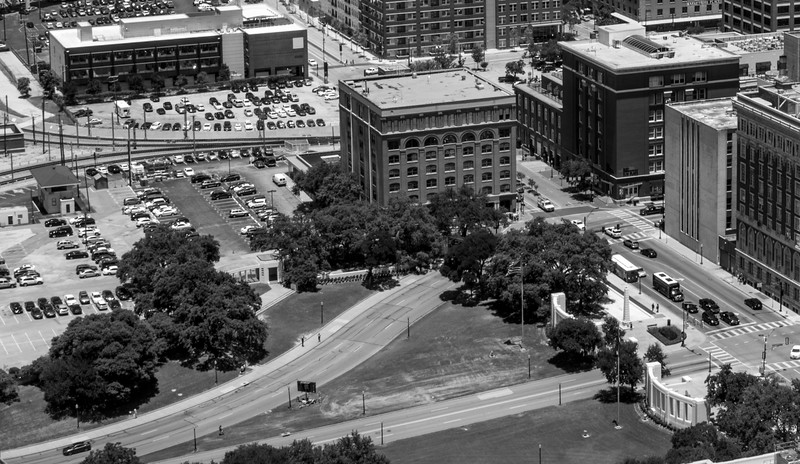 View of Dealy Plaza from Reunion Tower in Dallas, TX