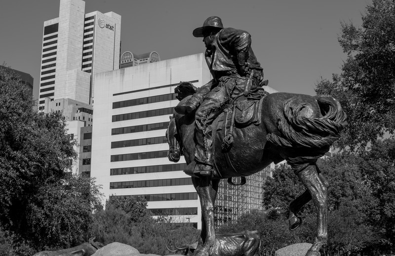 Pioneer Plaza - Downtown Dallas, TX - 35mm black and white photo by Randy Stewart - www.NoPhotosAllowed.com