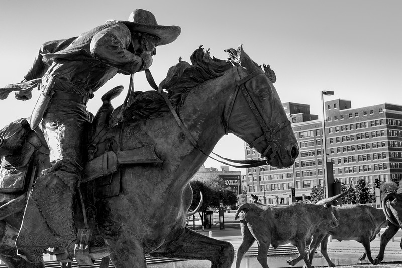 Pioneer Plaza - Downtown Dallas, TX  - 35mm black and white photo by Randy Stewart - (www.NoPhotosAllowed.com)