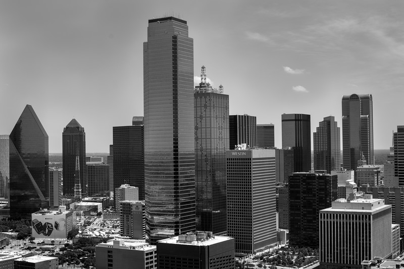 View from Reunion Tower - Dallas, TX in 35mm black and white.  Photo by Randy Stewart - NoPhotosAllowed.com
