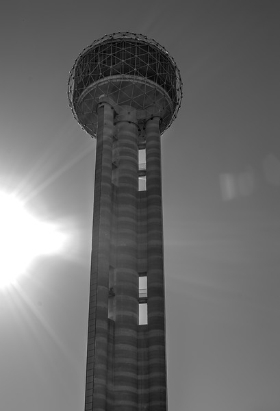 Dallas Reunion Tower - Downtown Dallas, TX  - 35mm black and white photo by Randy Stewart - www.NoPhotosAllowed.com