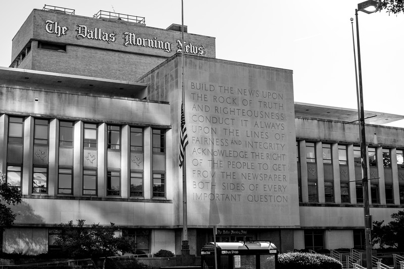 Dallas Morning News building - Downtown Dallas, TX  - 35mm black and white photo by Randy Stewart - www.NoPhotosAllowed.com