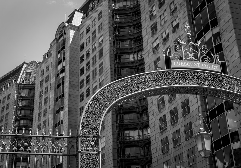 Dallas Crescent Court - Downtown Dallas, TX - 35mm black and white  Photo by Randy Stewart - www.NoPhotosAllowed.com