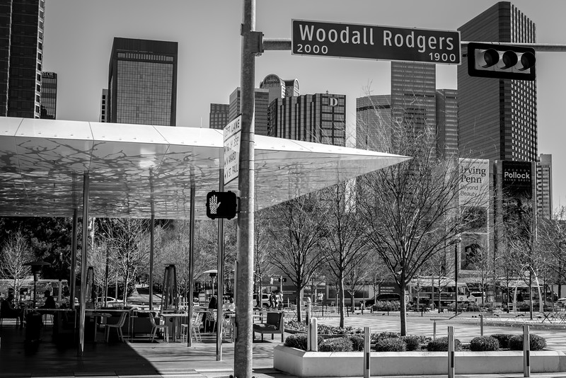 Klyde Warren Park - Downtown Dallas, TX  - 35mm black and white photo by Randy Stewart - www.NoPhotosAllowed.com