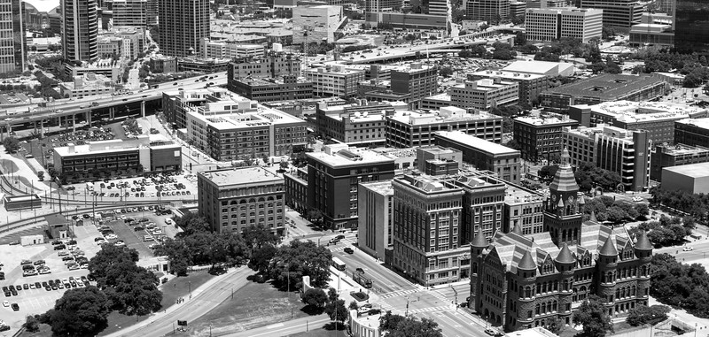 Downtown Dallas, TX shot from Reunion Tower in Dallas, TX - 35mm. black and white