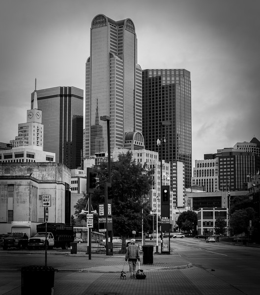 Downtown Dallas, TX  - 35mm black and white photo by Randy Stewart - www.NoPhotosAllowed.com