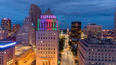 Civil Courts Building lit for Pridefest