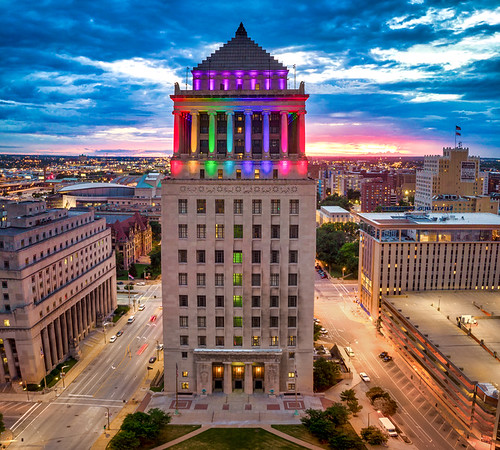 Civil Courts Building lit for Pridefest