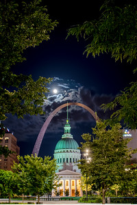 A Full Moon and the Old Courthouse from Kiener Plaza