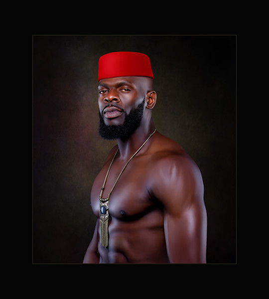 African In Red Kufi