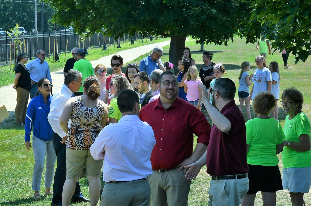. People gathered for the ceremonies at Doyle Field on Friday. Sentinel & Enterprise / Jim Fay