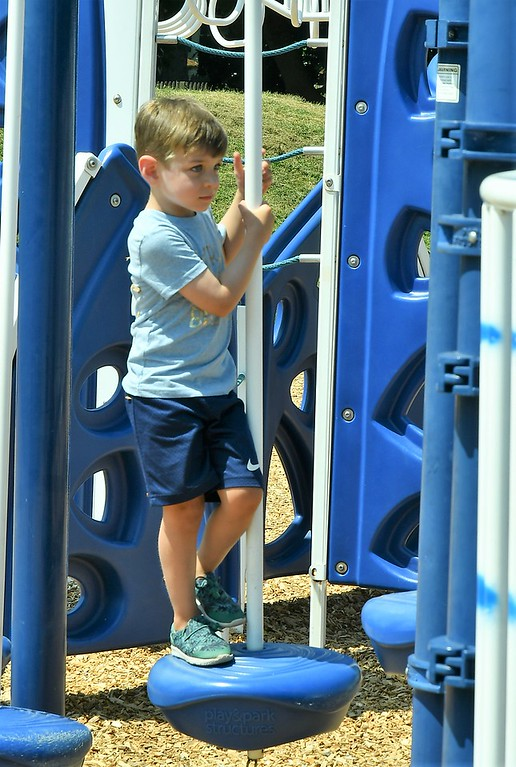 . Luke Shay from Trumbull, CT. on the reopened Playground at Doyle Field. Sentinel & Enterprise / Jim Fay
